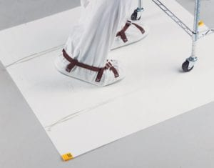 White Tacky Mat with wheel and foot marks