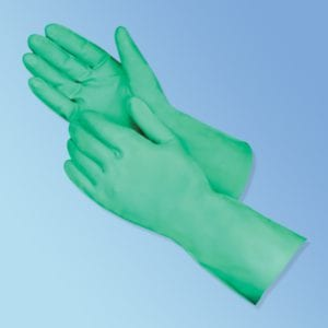 "Chemical Resistant 13"" Green Nitrile Gloves"