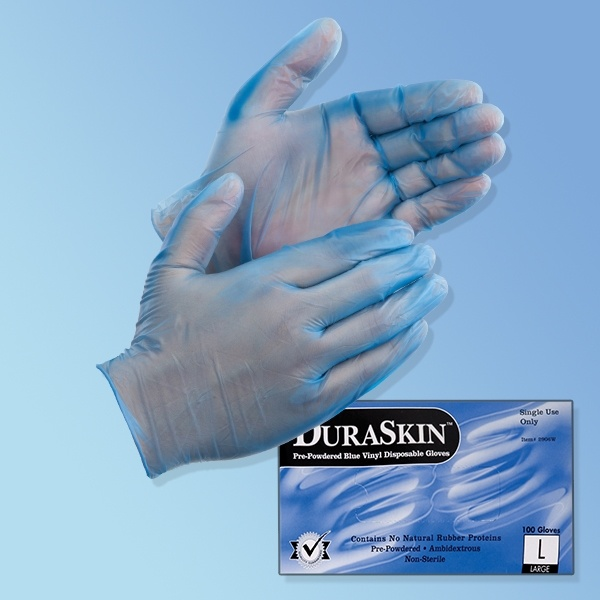 DuraSkin Blue Vinyl Gloves, Powder-Free