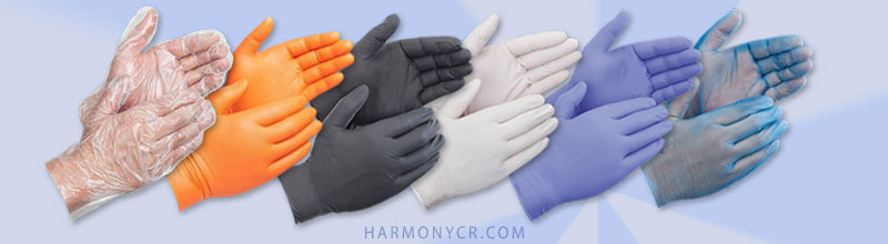 Protective Disposable Gloves vinyl nitrile latex medical exam food - harmonycr.com